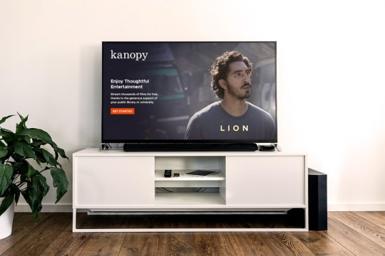 Kanopy streaming service on TV in lounge room