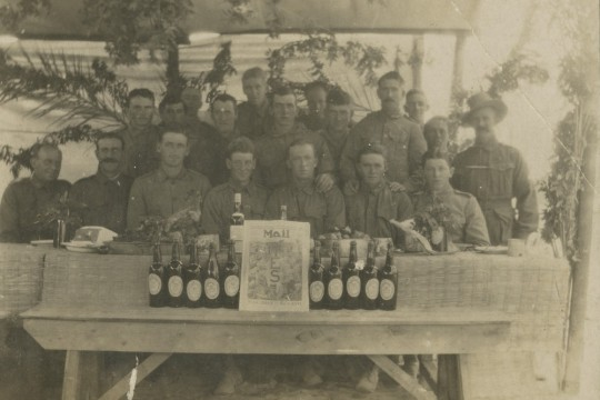 Australian Light Horse soldiers celebrating Christmas in Palestine during WWI 1917