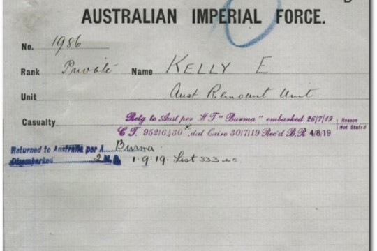 Service record Edward Kelly