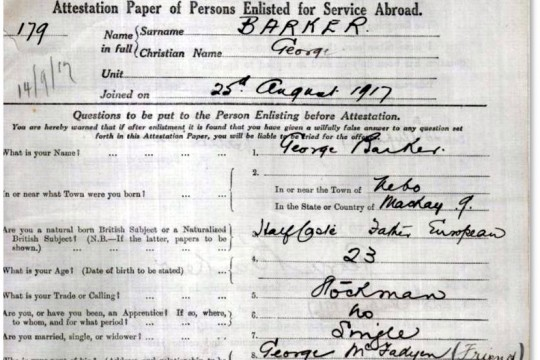 Service record for George Barker 179 Depot Battalion