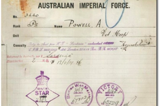Extract from service record for Albert Powell