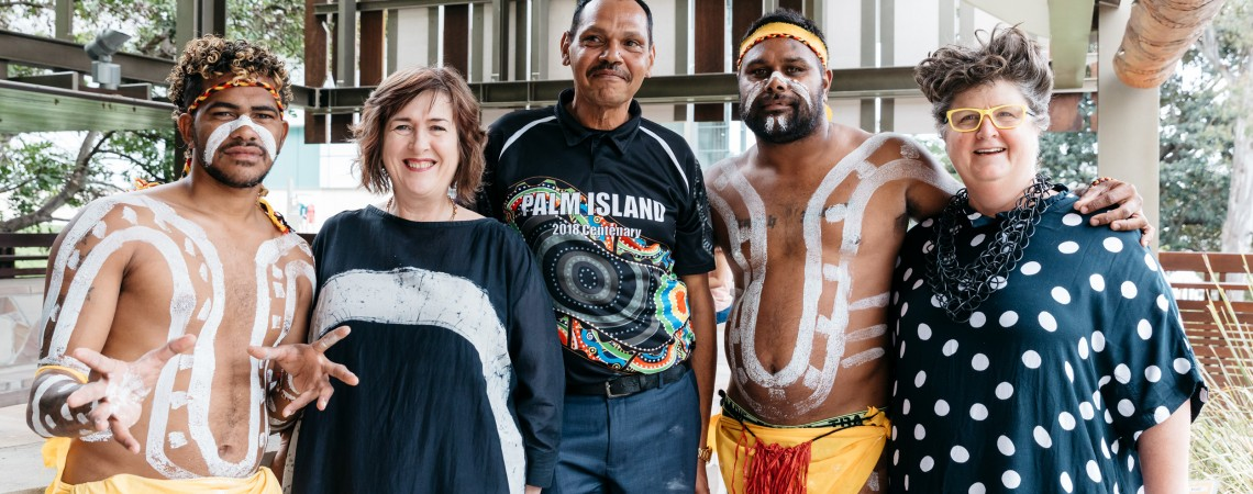 Bwgcolman Dancers with State Librarian and Chief Executive Officer Vicki McDonald Palm Island Mayor Alf Lacey and Executive Director Public Libraries and Engagement Louise Denoon