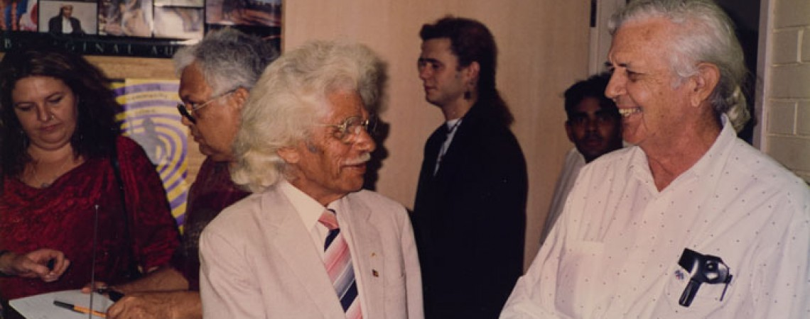 Senator Neville Bonner and BIMA Chairman Bob Anderson at the first broadcast in 1993