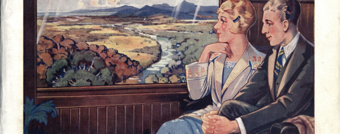 Beautiful Queensland booklet with image of couple looking out from a railway carriage window