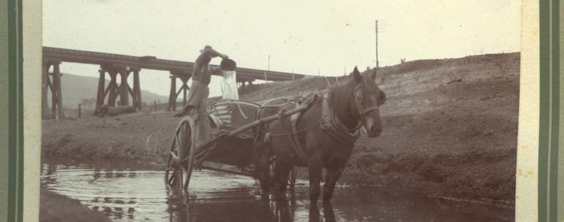 Carrying water from Gowrie Creek during the 1920 drought Kingsthorpe Queensland