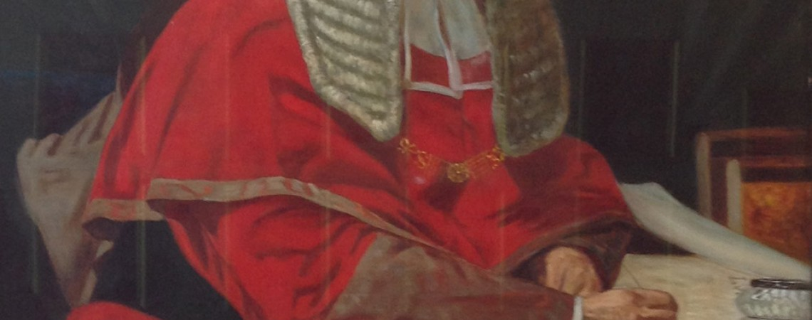 Portrait of the Honourable Sir James Cockle wearing the wig and robes of his office.