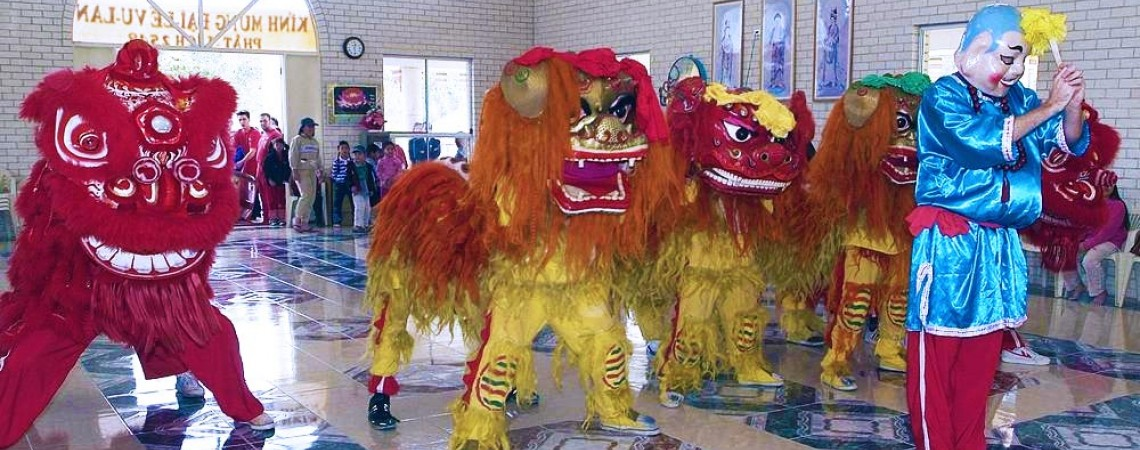 Lion dancing at the Phat Da Monastery in Inala