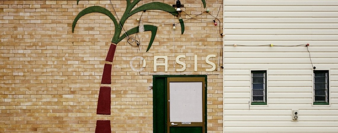 Image of palm tree on wall with word Oasis above door
