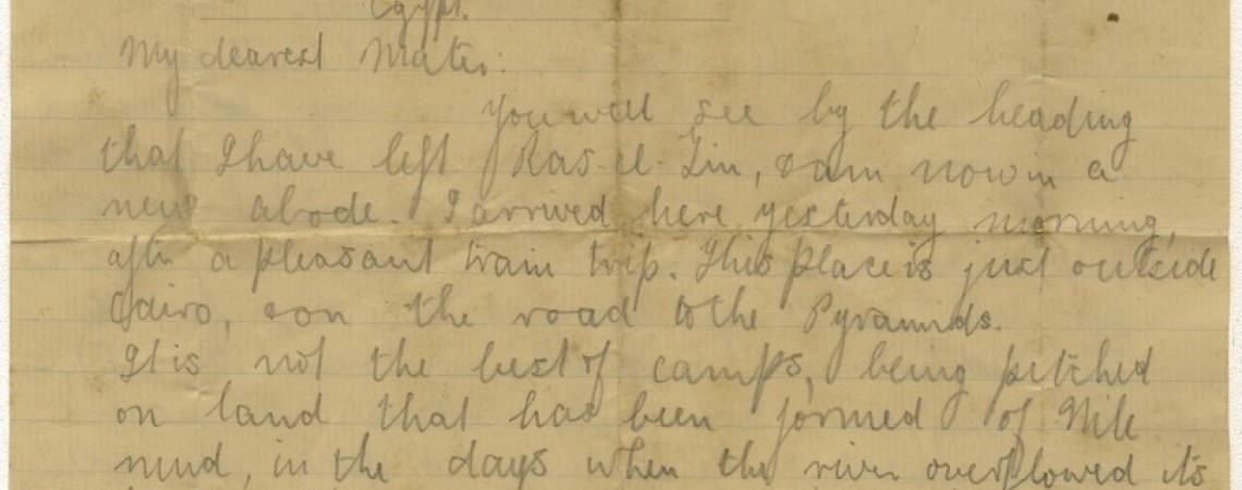 Letter written on YMCA letterhead from son to mother during war