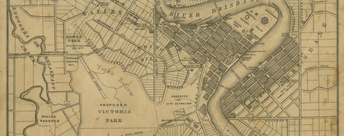 Yellowed Slaters Pocket Map of the City of Brisbane 1865