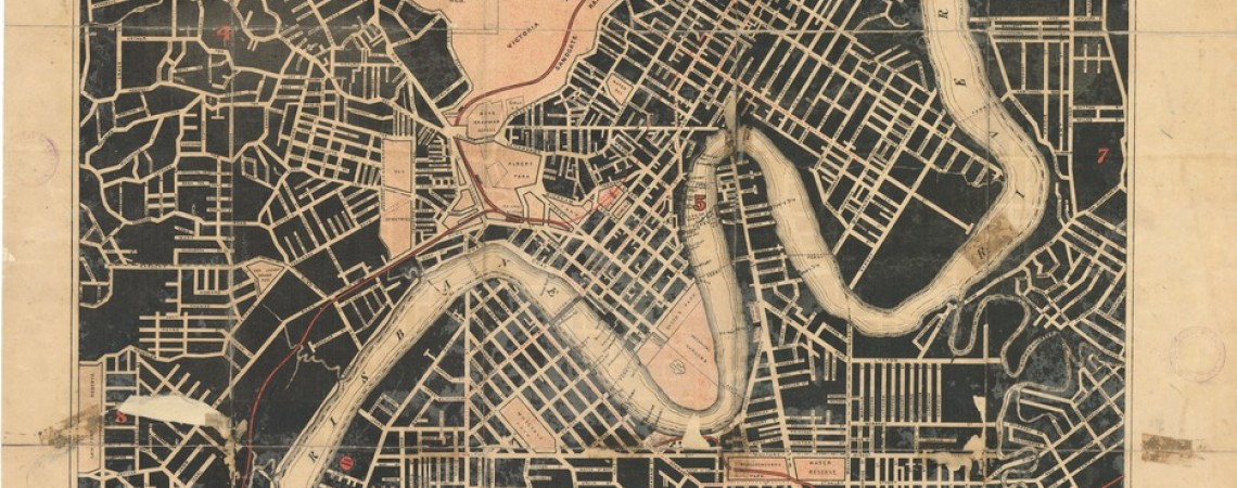 Map of Brisbane  suburbs 1889 shewing all the streets opened in connection with subdivisional surveys
