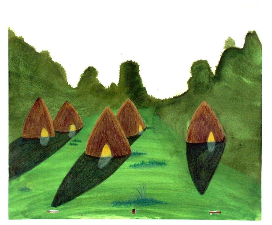 Drawing of straw huts and green land