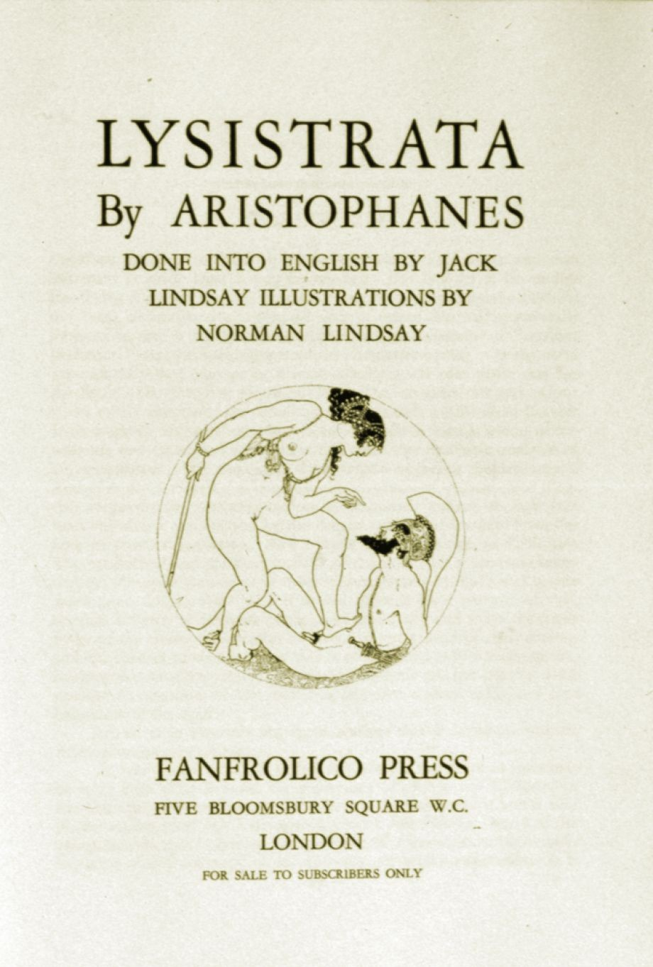 Lysistrata by Aristophanes Fanfrolico Press