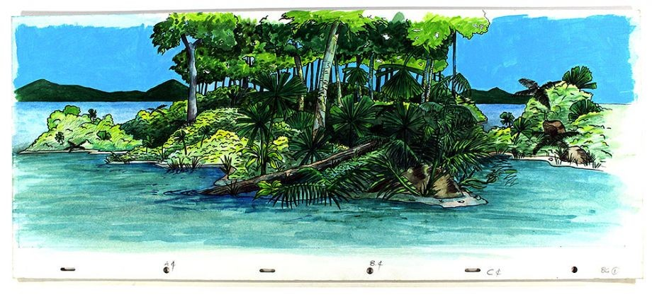 Watercolour of rainforest and ocean from Hawkesbeak Turtle