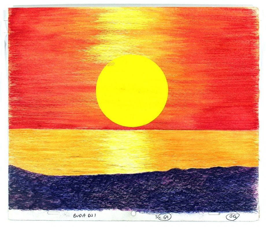 Crayon drawing of sunset