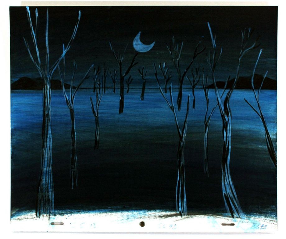 Drawing of trees in water at night