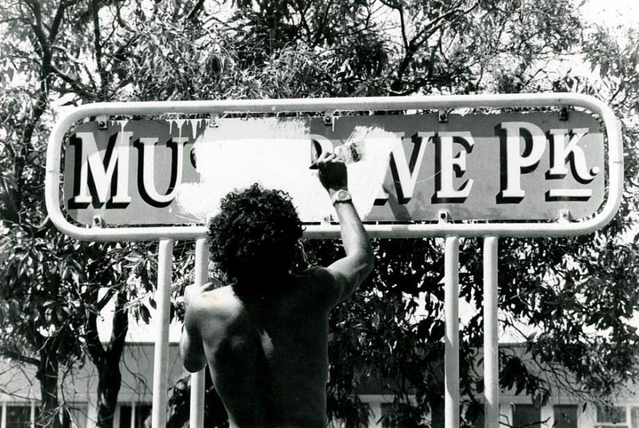 Painting over Musgrave Park sign