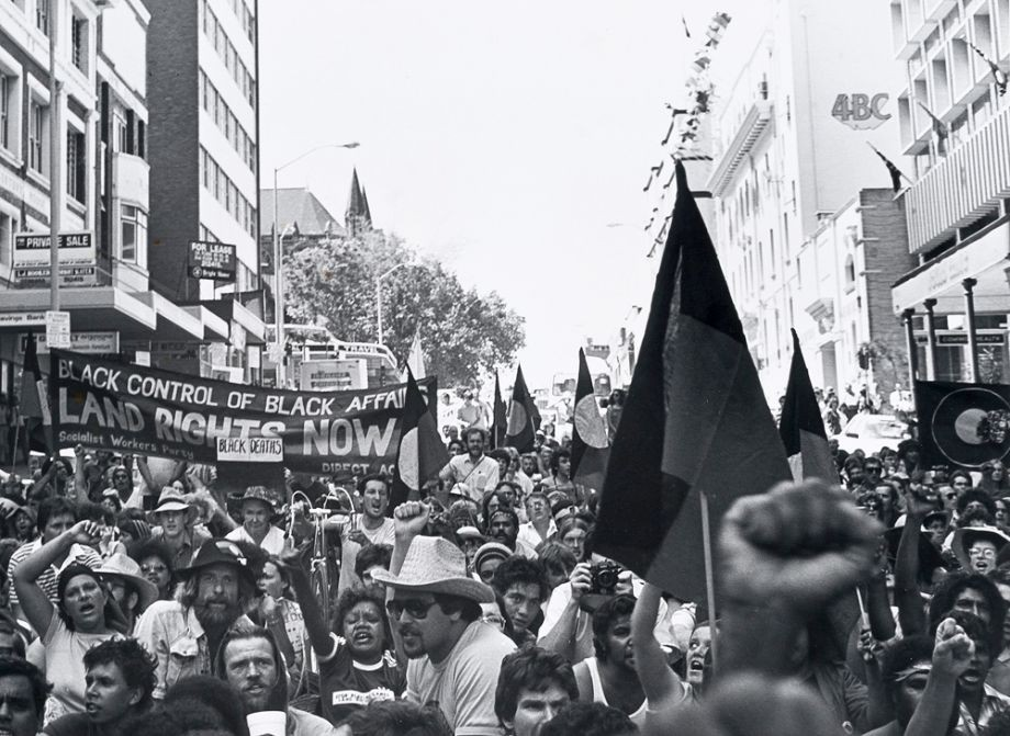 Protestors on Upper Adelaide Street Brisbane 1982