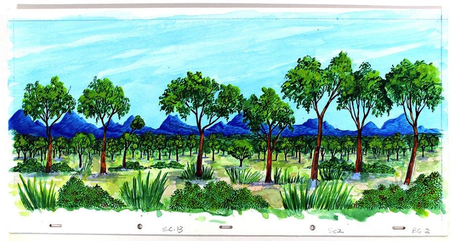 Drawing of bushland and mountains from The Southern Cross