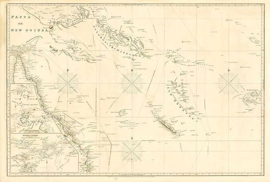 1820 Chart of the coast of Queensland also covering Torres Strait New Guinea and Pacific Islands east to Fiji London  JW Norie  Co 1820 - Navigation Warehouse and Naval Academy