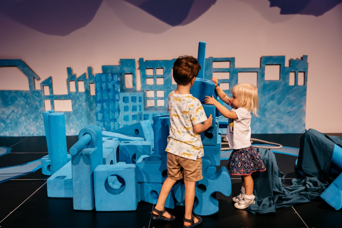 Children playing in the Imagination Playscape at State Library of Queensland