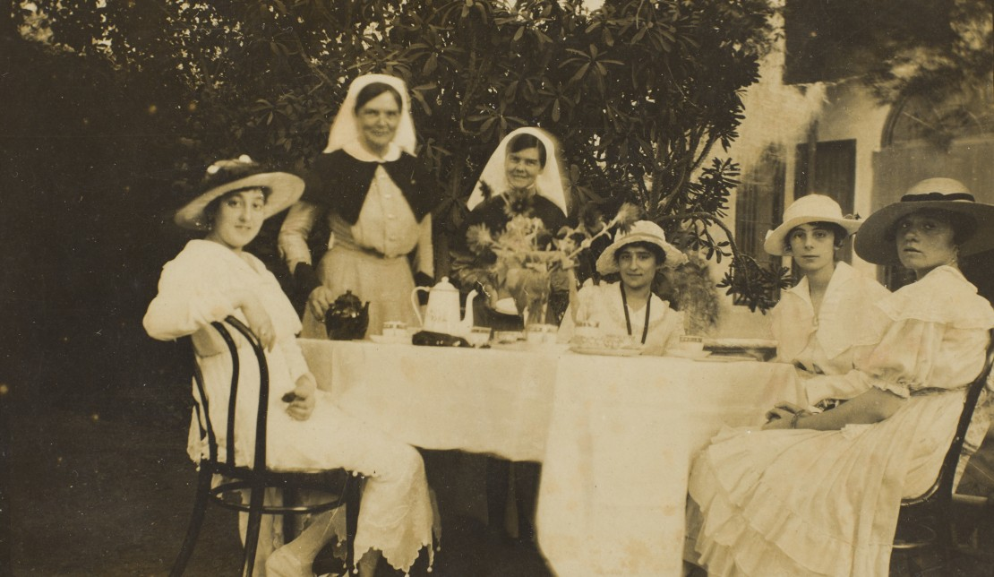 Sister Keys and Matron Wilson at a tea party Cairo 1915 John Oxley Library State Library of Queensland Image  30674-0003-0010