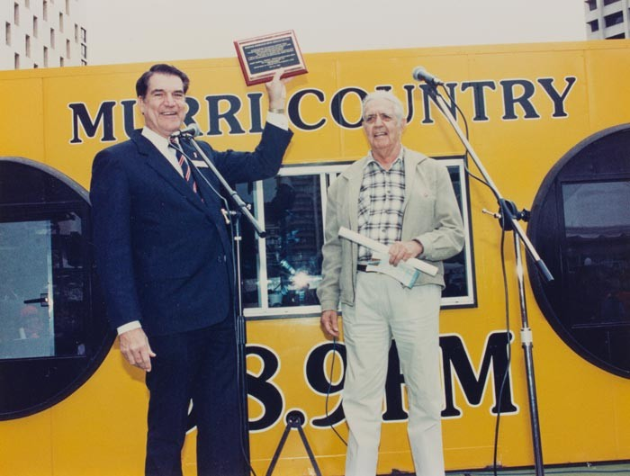 Jim Sorley and Bob Anderson with 989FMs first official outdoor broadcast van