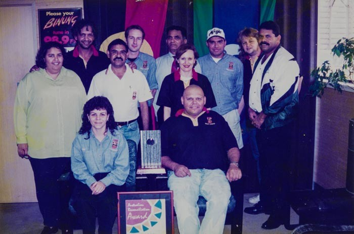 989FM crew with Deadly Sounds broadcaster of the year award and Reconciliation Australia award