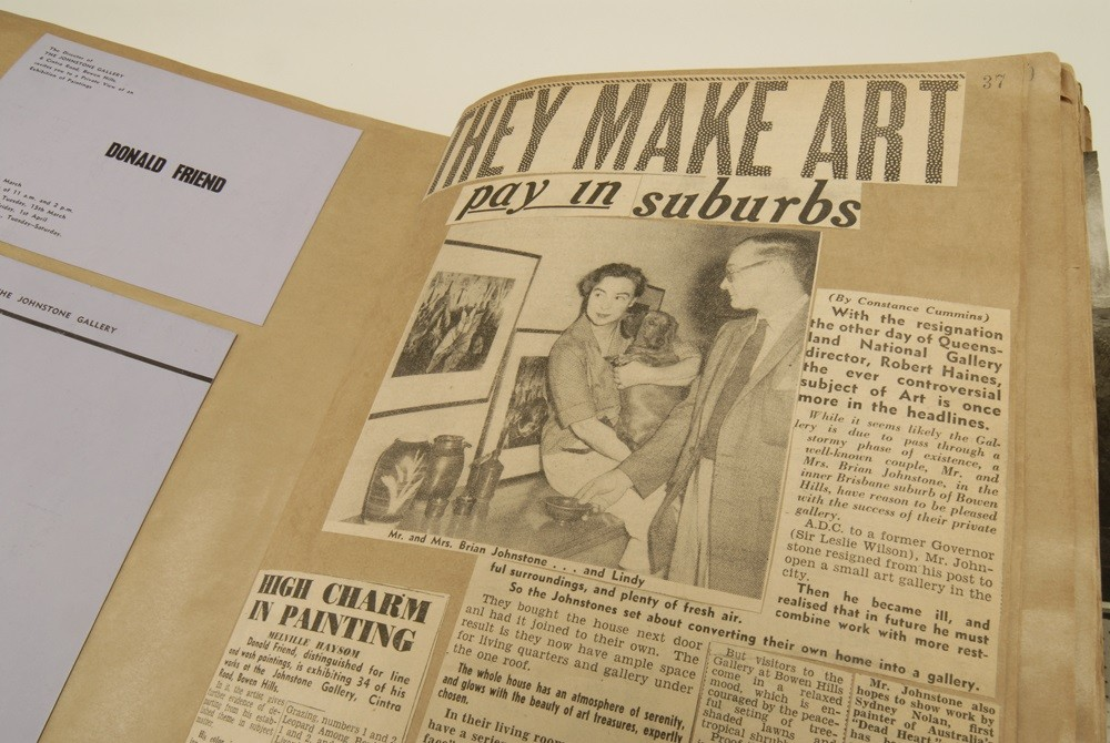 Newspaper articles about the Johnstone Gallery were added to the scrapbooks meticulously by Marjorie