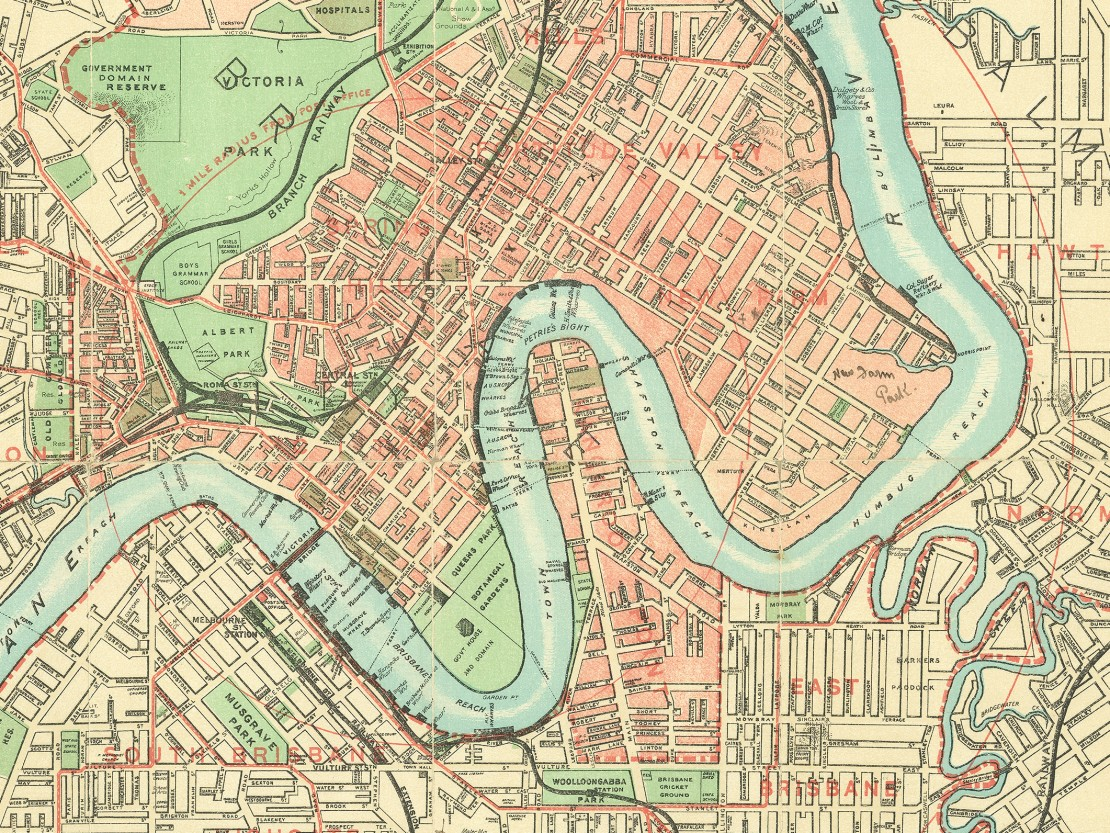 Map of Brisbane and suburbs 1912