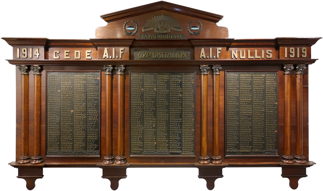 Photograph of three-panelled timber honour board with names of soldiers from the 42nd Infantry Battalion