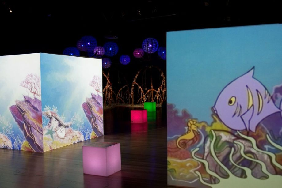 Animation projection: Nanji and Nguandi from Aboriginal Nations The Dreaming Series