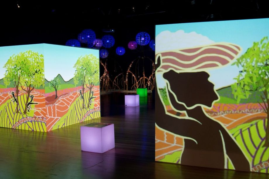 Animation projection: Wonga and Nudu from Aboriginal Nations The Dreaming Series 2