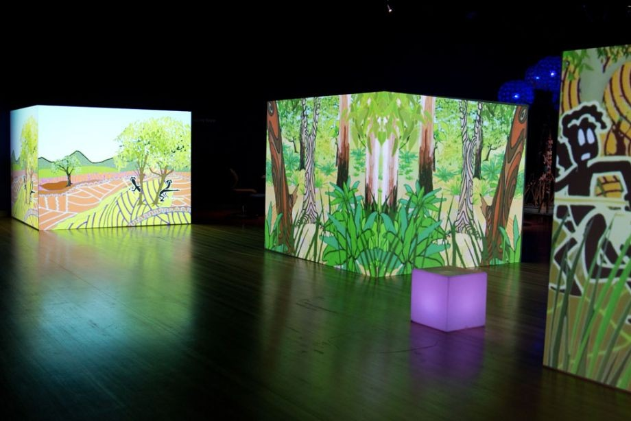 Animation projection Wonga and Nudu from Aboriginal Nations The Dreaming Series