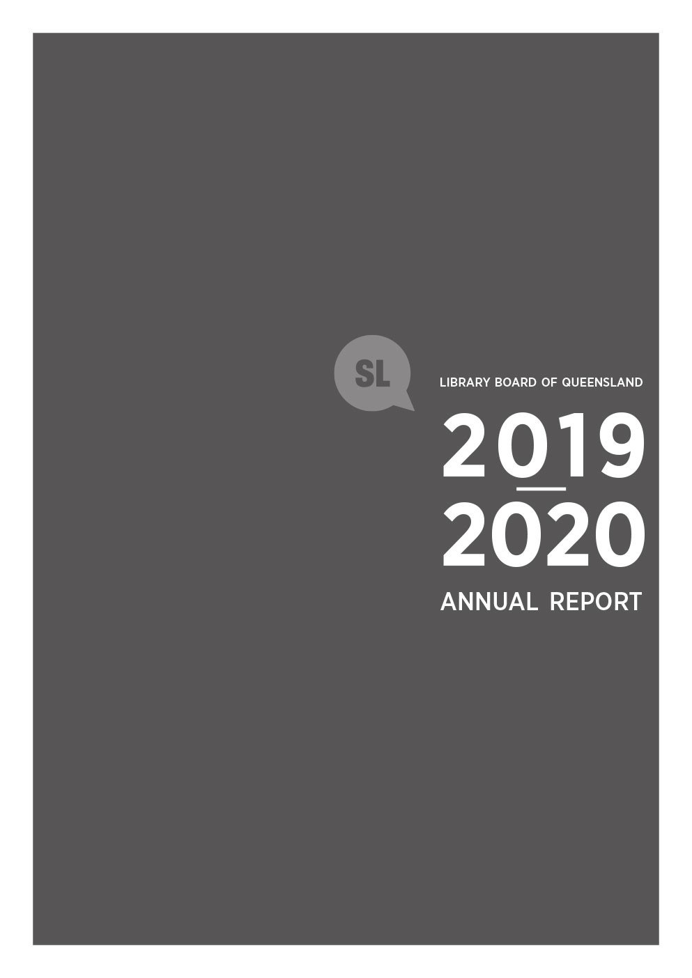 Cover page for the Library Board of Queensland 201920 Annual Report