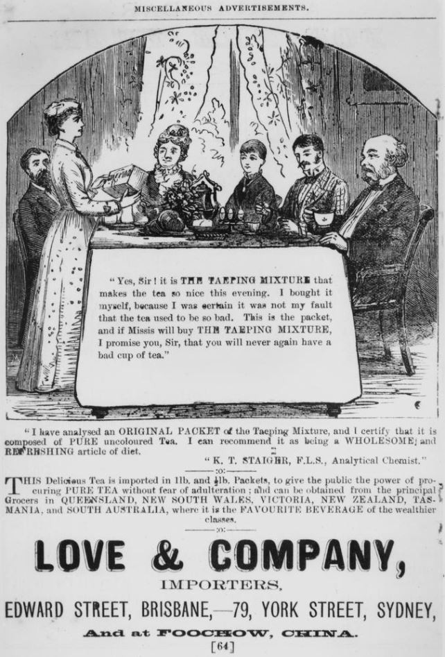 Advertisement for Love  Company Importers Slaters Queensland Almanac 1883