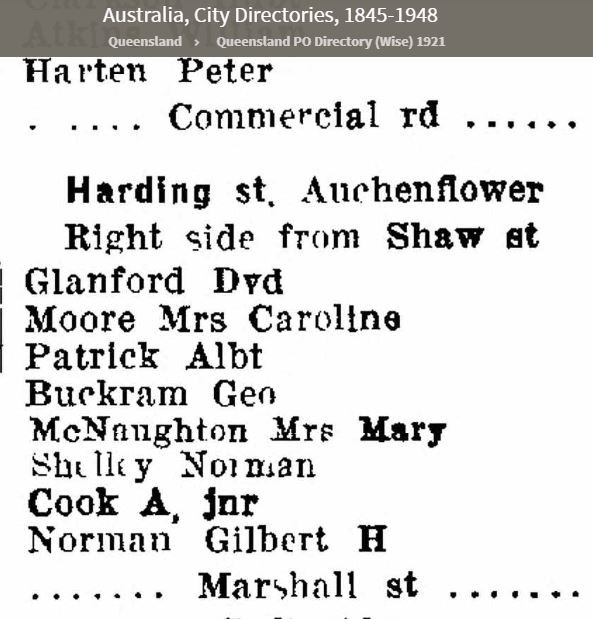 List of residents in Harding St Auchenflower in 1921 Ancestry City Directories