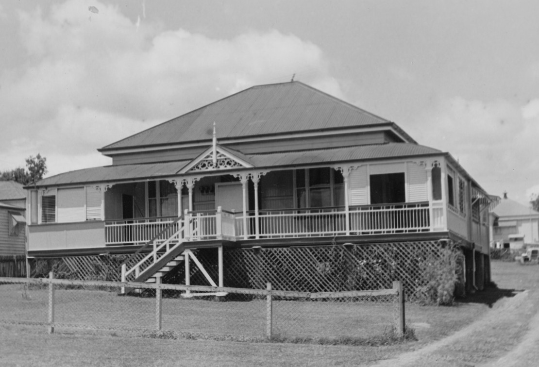 Black and white photo of Queensland home at 4 Pring St Ipswich