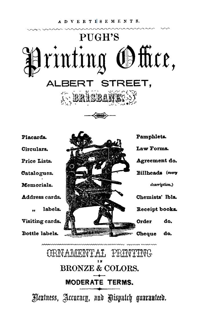 Advertisement for Pughs Printing Office Albert Street Brisbane with picture of printing press