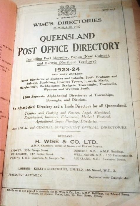 Title page of Wises Directories Queensland Post Office Directory 1923-24