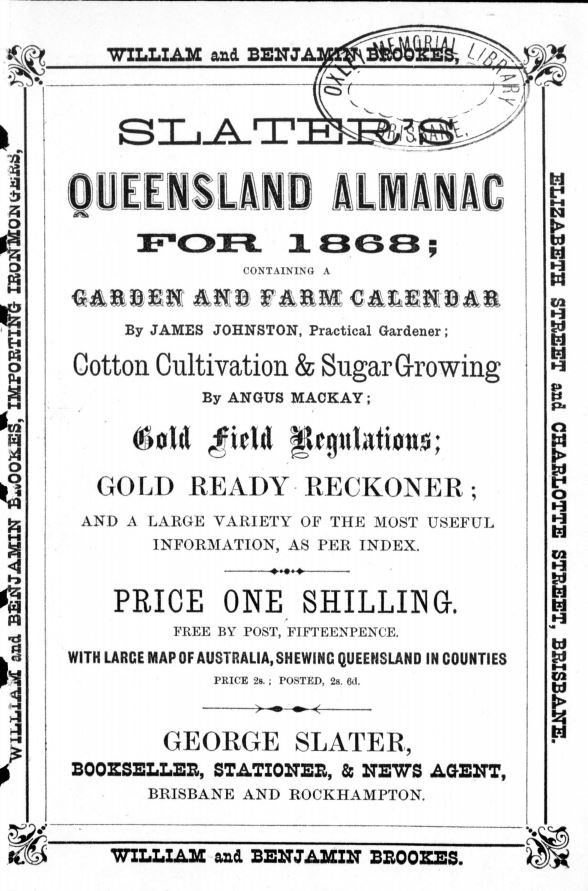 Title page of Slaters Queensland Almanac 1868