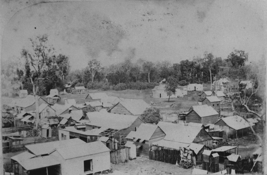 View overlooking the buildings of China Town in Cairns Queensland 23 April 1886