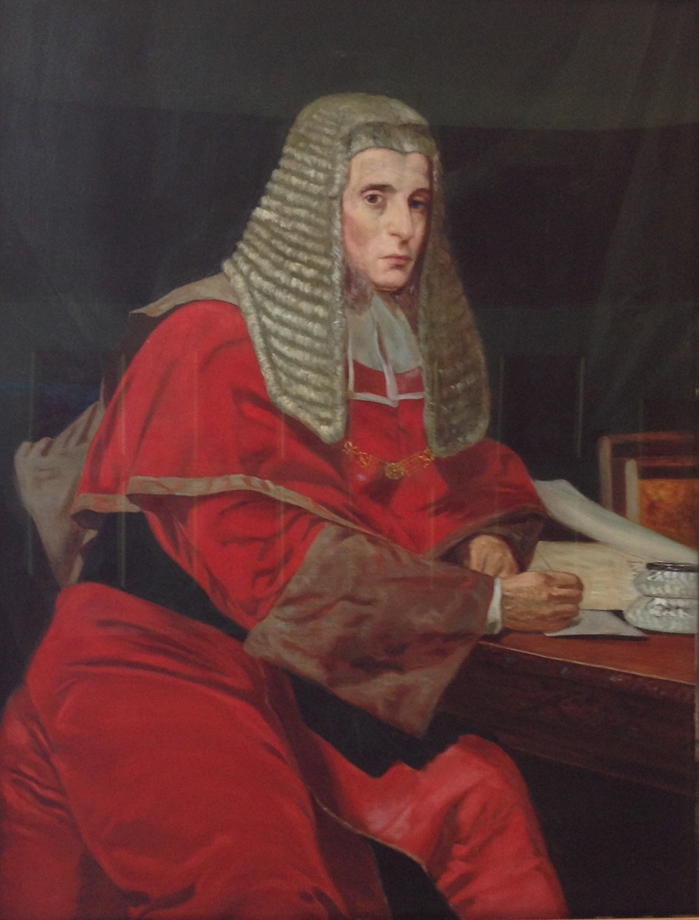 Portrait of the Honourable Sir James Cockle wearing the wig and robes of his office