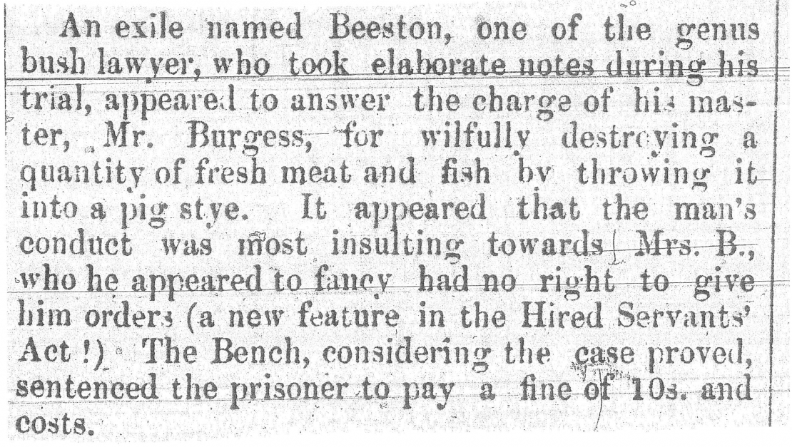 A description of Beeston as an exile and his trial