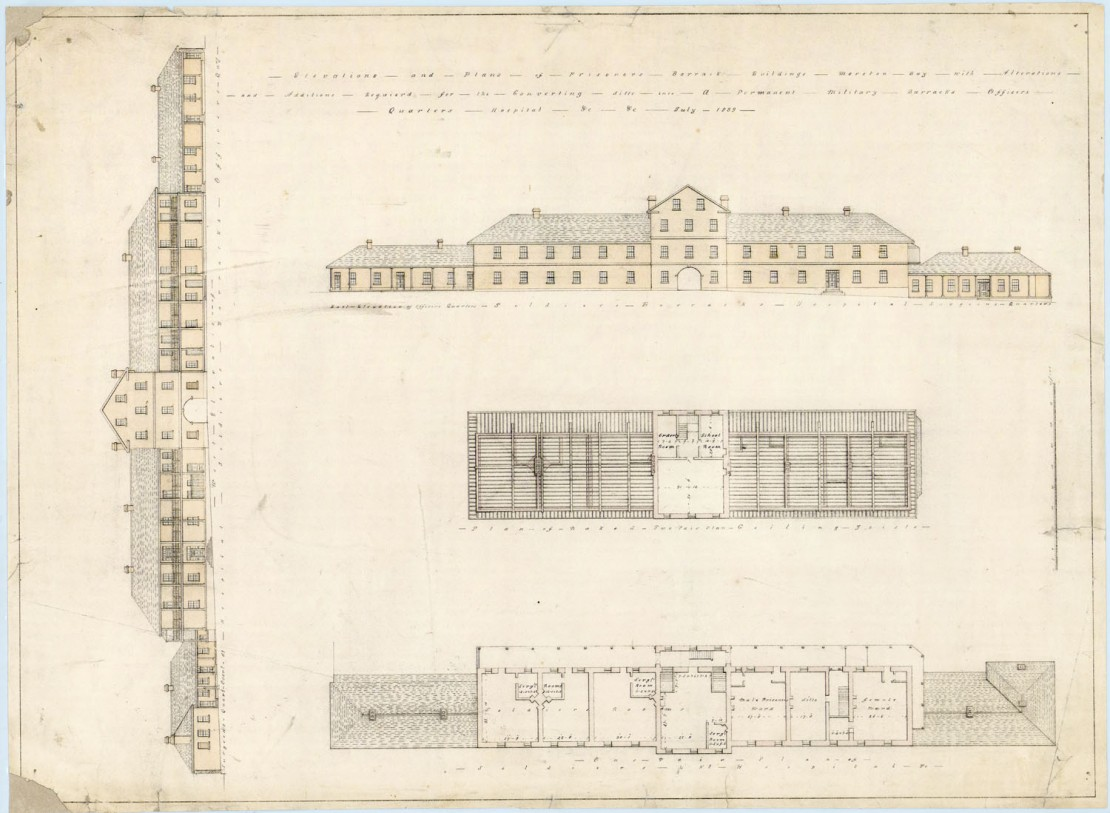 Elevations and plans of Prisoners Barrack buildings showing alterations and additions required for the converting the barracks into a permanent Military Barracks Officers quarters and hospital etc Moreton Bay