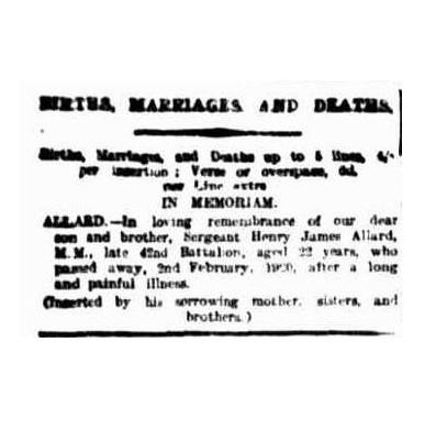 Death notice for Allard - In  Morning Bulletin Thu 2 Feb 1922 page 1