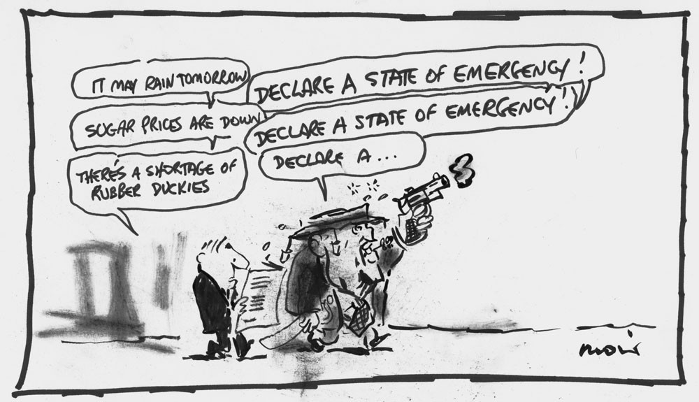 Declare a state of emergency 1981 Alan Moir