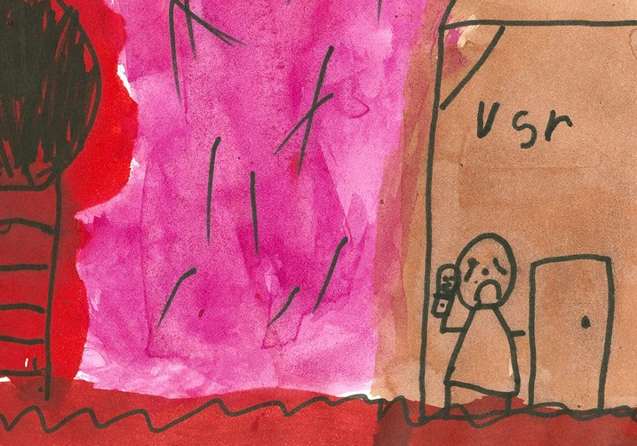 Detail from Children Arent Happy Being Home Alone by Sarah Guttie 6 years The Murri School