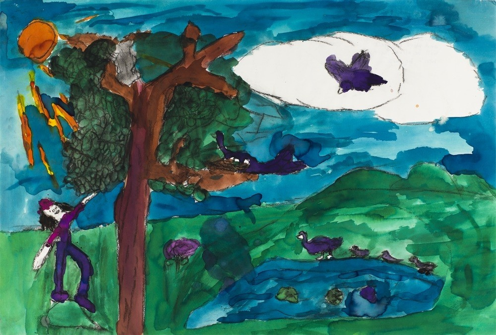 A child's artwork of a tree, birds and a landscape
