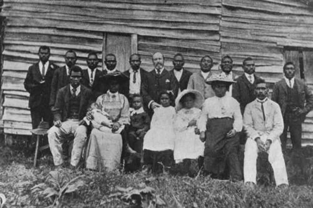 Group of South Sea Islander missionaries near Nambour Queensland 1906 Photographer unknown John Oxley Library State Library of Queensland Negative no 23819